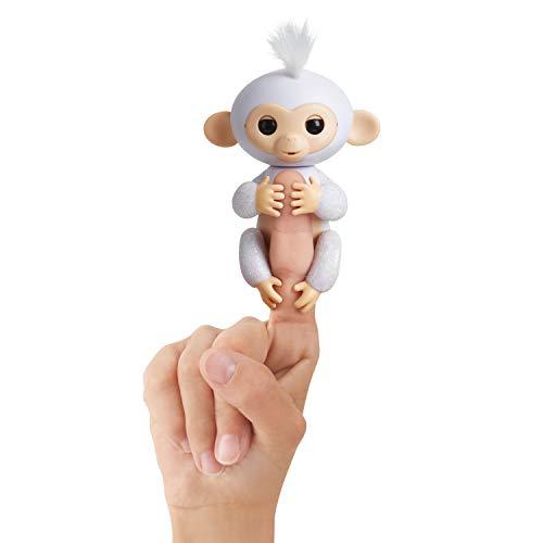 Fingerlings Glitzer Äffchen weiß Sugar 3763 interaktives Spielzeug, reagiert auf Geräusche, Bewegungen und Berührungen