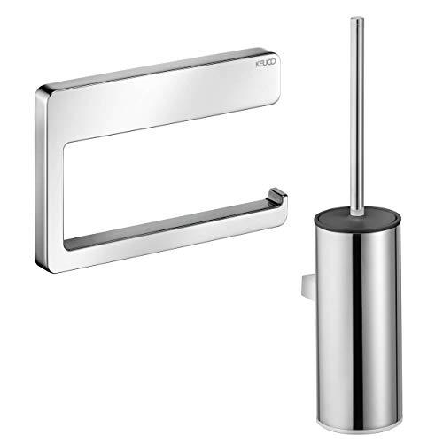 KEUCO WC-Set, Toilettenpapierhalter aus Metall, hochglanz-verchromt, offen, Bürstengarnitur aus Metall, Chrom und Kunststoff weiß, Wandmontage, Moll