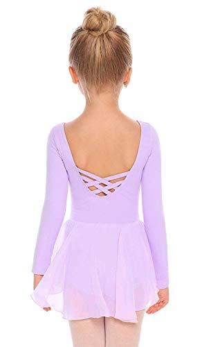 Beyove Mädchen Ballettkleidung Rückenfrei Ballettkleid Baumwolle Langarm Balletttrikot Ballettanzug Kinder Tanzkleid Tanzbody mit Rock Tütü