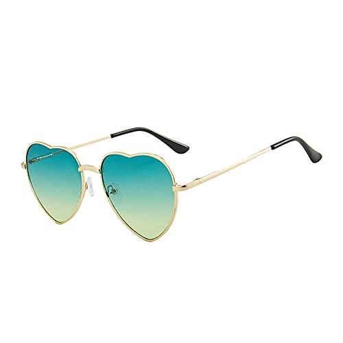 IRCATH Gafas de Sol en Forma de corazón Mujeres Metal Metal Lente reflexivo Protección Solar Gafas de Sol Hombres Espejo UV400 Adecuado para Golf, Ciclismo, Gafas de Sol de Pesca-C5