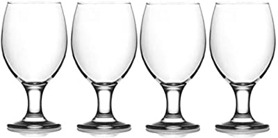 Epure Cremona Collection 4 Piece Water Goblet Glass Set - Strong Stemmed Glasses For Drinking Water, Juice, Wine, Mixed Drinks, and Cocktails (Water Goblet (13.5 oz))