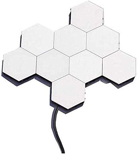 LHZTZKA Led wandlamp Quantum lamp zeshoekige lampen Modular Aanraakgevoelige verlichting Nachtlicht Magnetische Zeshoekige creatieve hoofddecoratie, Helios Stitching White (pak van 5)