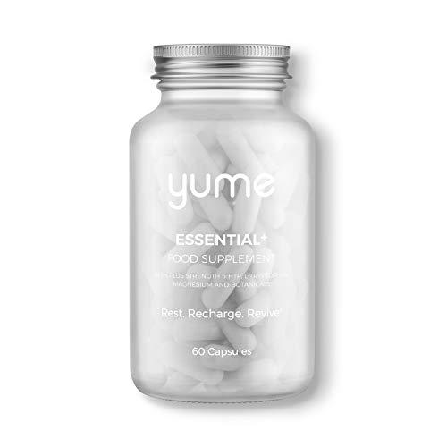 Yume | Essential+ Sleep Supplements Plus Strength | Natural Sleep Aid | Vitamins, Minerals, Botanicals | Natural Sources of Melatonin | Vegan | Magnesium | 5HTP | Montmorency Cherry | Chamomile |