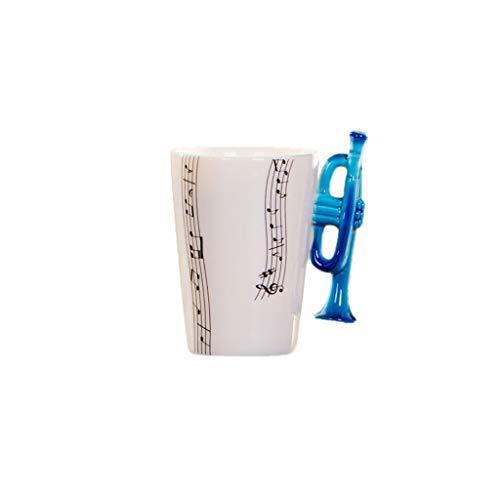 JIUYECAO Blaue Trompeten-Tasse mit Musiknote, Kaffeetasse aus Keramik, Trompeten-Motiv, Geschenk