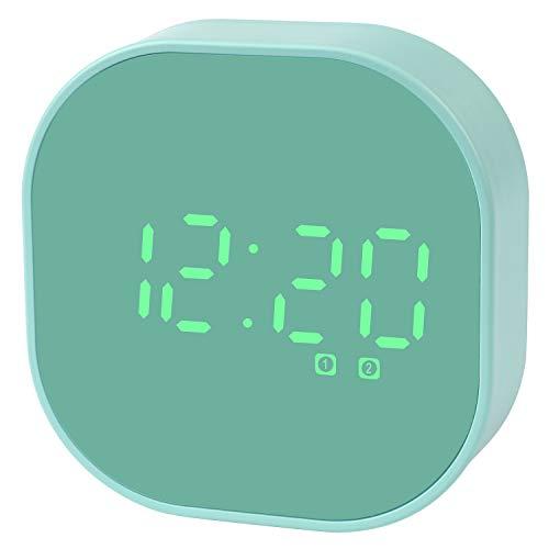 Digitaler Wecker,Küchentimer Tragbar Klein LED Reisewecker Doppelalarm Magnetisch Smart Sensor Wecker Countdown-Timer für Küche Kompaktuhr für Schreibtisch Schlafzimmer (Grün-C04)
