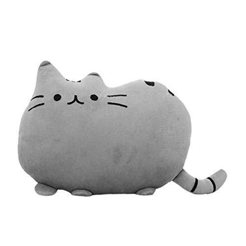 Adore store Almohada, Relleno Suave a la Forma Linda del Gato Amortiguador de la Almohadilla Bolster Sofá Juguete Decoración Gris