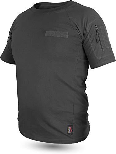 normani Tactical BDU Kampfshirt T-Shirt mit Klettpatches, Armtaschen & versteckten Seitentaschen Farbe Schwarz Größe 8/XL