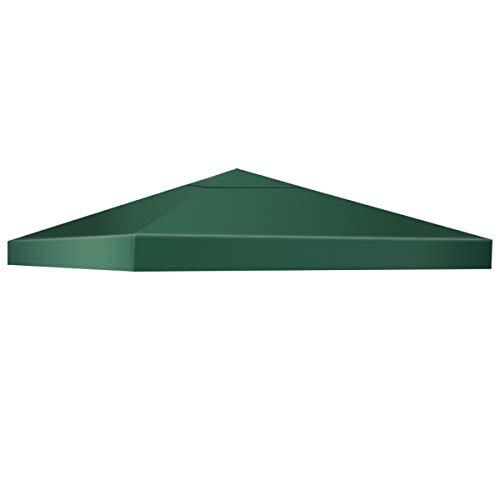 DREAMADE Pavilliondach, 3 x 3 Meter Ersatzdach für Pavillion, Dachbezug Dachplane für Faltpavillion Zelt, Strohdach Ersatzplane, Pavillionersatzdach Ersatz (Dunkelgrün)