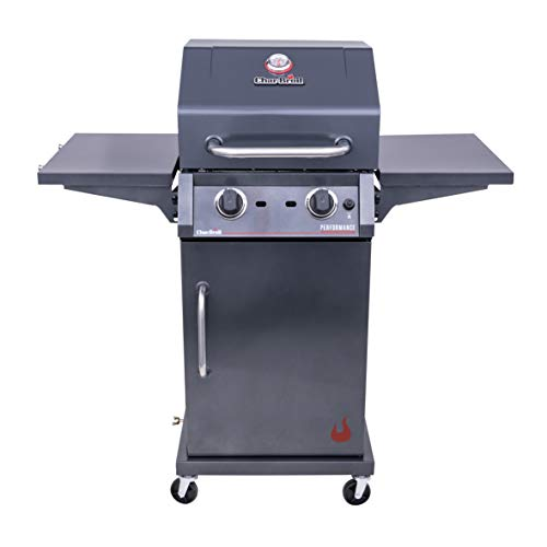 Char-Broil 463655621 Performance TRU-Infrared 2-Burner Cabinet Style Liquid Propane Gas Grill, Metallic Gray