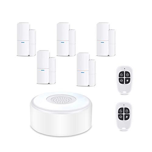 Système d'alarme sans fil complet avec 1 sirène, 5 capteurs de porte de fenêtre et 2 télécommandes - Alarme de fenêtre et de porte - Alarme de porte via le réseau mobile