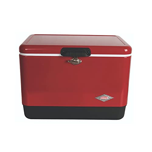 Coleman Cooler   Steel-Belted Cooler Keeps Ice Up to 4 Days   54-Quart Cooler for Camping, Barbecues, Tailgating & Outdoor Activities