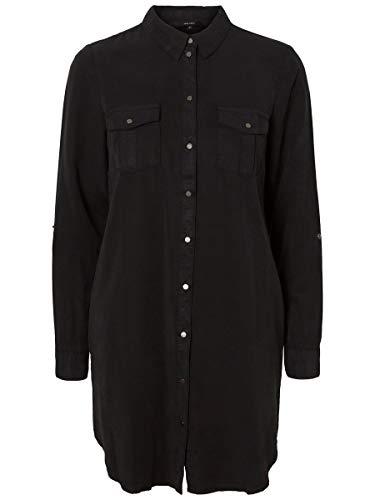 VERO MODA Damen VMSILLA LS Short Dress Blck NOOS GA Kleid, Schwarz, 34 (Herstellergröße: XS)