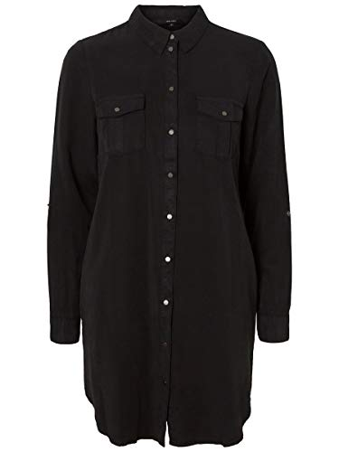 VERO MODA Damen Minikleid Langärmeliges Hemd LBlack