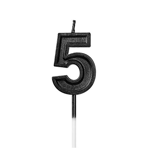 LUTER Black Glitter Happy Birthday Cake Candles Number Candles Number 5 Birthday Candle Cake Topper Decoration for Party Kids Adults (Number 5)