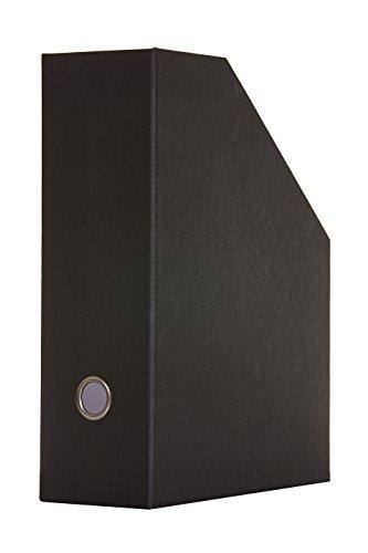 RITTER DESIGN Stehsammler Zeitschriftensammler mit Griffloch für A4, schwarz, für Büro und Schreibtisch gefertigt aus Hartpappe mit hochwertiger Leinenstruktur in deutscher Manufakturarbeit