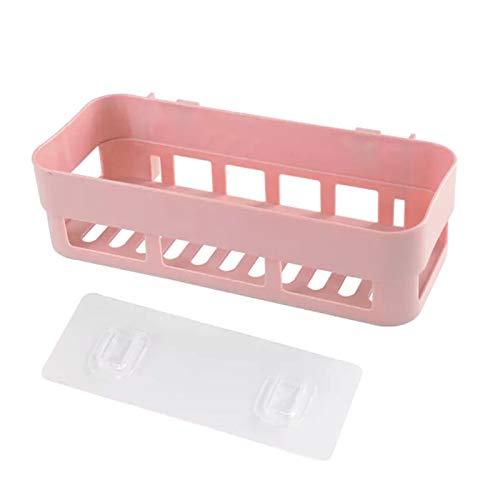 Estante de almacenamiento multifuncional para el hogar baño y la cocina, estante de almacenamiento sin perforación montado en la pared, color rosa