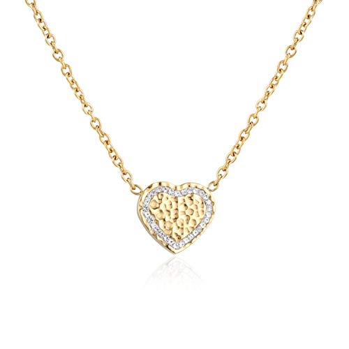 ASTOFLI Heart Necklace for Women, Gold Thin Chain Set with Swarovski Crystal Necklace, Infinity Love Brightest Star