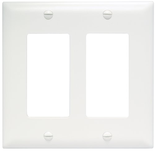 Legrand - Pass & Seymour TP262W Trade Master Wall Plate 2 Gang 2 Decorator, White, SMALL