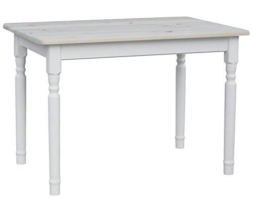koma Esstisch Küchentisch 100x60cm Tisch MASSIV Kiefer Holz weiß Honig Landhausstil - NEU (UNBEHANDELT)