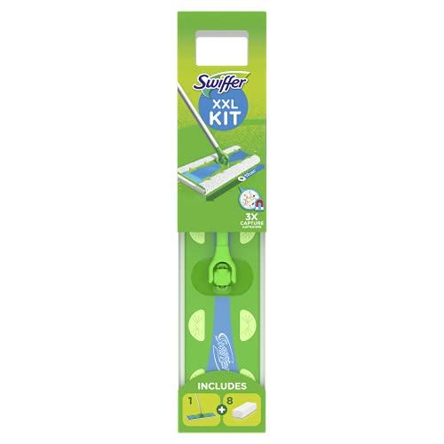 Swiffer Balai XXL Kit, Balai + 8 Recharge Lingettes, Sèches Retient 3X Plus de Poussière et de Poils