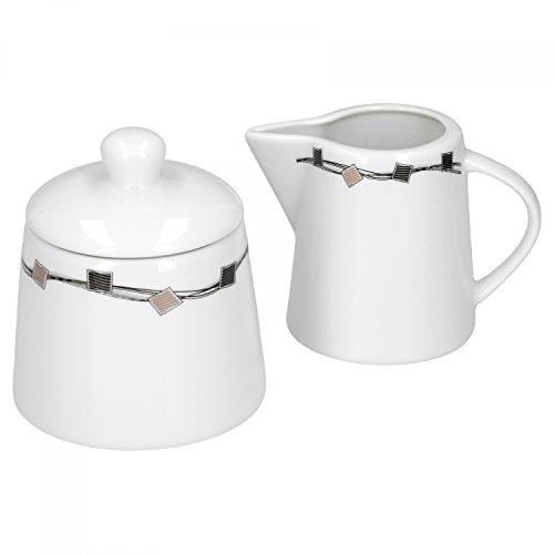 Caffè Set lattiera e zuccheriera Casetta in porcellana bianco con decorazione