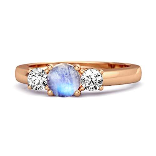 Shine Jewel Multi Elija su Piedra Preciosa Tres Piedras 0.10 Ctw Anillo de Compromiso Chapado en Oro Rosa de Plata 925 (17, Piedra de la Luna)