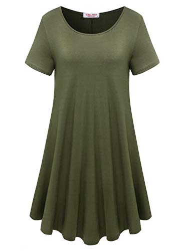 BELAROI Womens Comfy Swing Tunic Short Sleeve Solid T-Shirt Dress (M, Army Green)