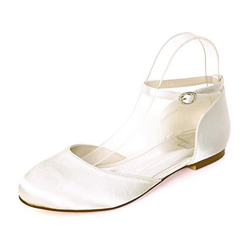 LGYKUMEG Zapatos de Boda de satén para Mujer, Zapatos de Punta Redonda de la Boca Baja, Mujeres Ballerinas de Boda Brida Tobillo Redondo Punta Zapatos de Boda Fiesta,05,EU37