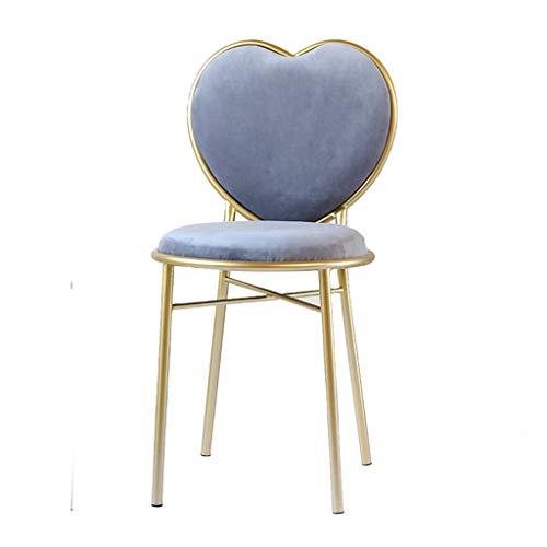Dressing table pall kreativ kärlek hjärta form ryggstöd stol gyllene matsal stol flanell makeup stol barn rum avslappnad lässtol dekorativa stol möbler,Gray flannel