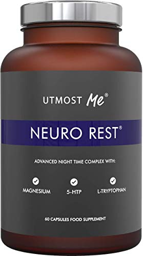 Neuro Rest by Utmost Me, 5-HTP, Magnesium, Natural Melatonin for Sleep, Made in The UK, 60 Tablets