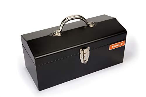 KENDO Werkzeugkasten leer - Maße: L41 x B18 x H19,5 cm - Werkzeugkiste Metall - Freitragende Werkzeugkiste leer aus pulverbeschichtetem Stahlblech - Innenfach herausnehmbar