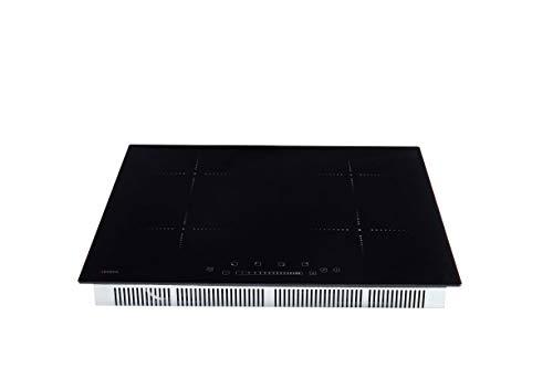 Arebos Induktionskochfeld mit 4 Zonen (16 Kochstufen, Sensor-Touch Display, Slider, Autark, integrierter Timer, Überhitzungsschutz, Kindersicherung, Reinigungsschaber inklusive)