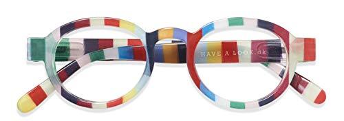 Have A Look Gafas de Lectura Hombre y Mujer Circle Twist Candy, Diseño Danés, Marco Redondo Rayado, Para Presbicia, Vista Cansada, Ver de Cerca, Leer, Graduadas Dioptrías (3)