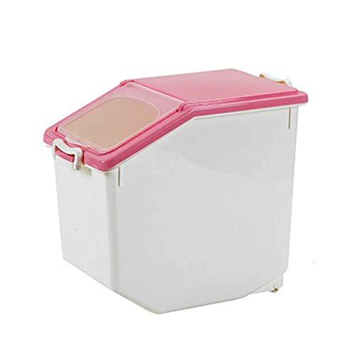 Jlxl huisdier voedsel container, droog voedsel 20L, 30L grote opslag plastic granen hond kat voor dispenser doos keuken kast, M