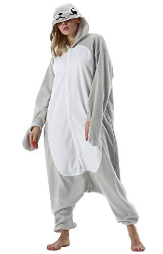 Jumpsuit Onesie Tier Karton Fasching Halloween Kostüm Sleepsuit Cosplay Overall Pyjama Schlafanzug Erwachsene Unisex Lounge, Grau Seelöwe, Erwachsene Größe M - für Höhe 156-167CM