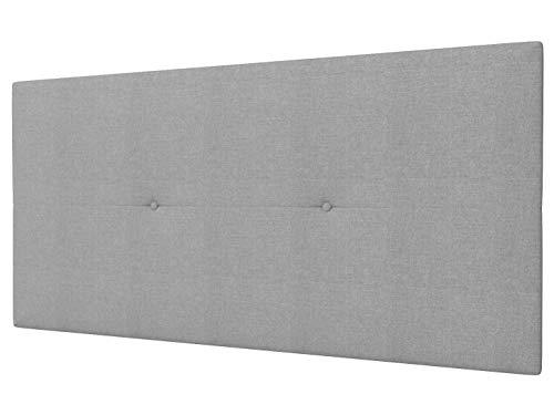 LA WEB DEL COLCHON - Cabecero Tapizado Génova para Cama de 105 (115 x 55 cms) Gris Claro Textil Suave | Cama Juvenil | Cama...