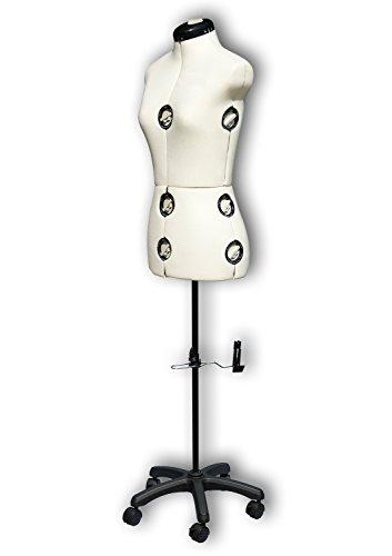 Verstellbare Profi Schneiderpuppe 'Mystique creme' Damen Torso 8-teilig, Größe S (36-42), weibliche Schneiderbüste komplett einstellbar, 5-Bein...