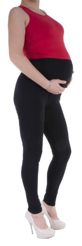 Jandaz® Standard- oder Winter-Leggings für Schwangere, volle Länge, Dreiviertel-Länge oder kurz, 95% Baumwolle, in vielen Farben erhältlich Gr. Medium, Schwarz