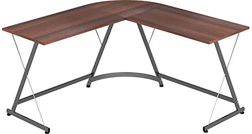 L-Shaped Home Computer Corner Desk, Walnut (Home)