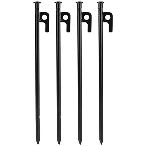 Keenso Camping Tent Stakes, 4 Pcs Steel Outdoor Camping Beach Tent Pegs Heavy Duty Tent Stakes(30cm)