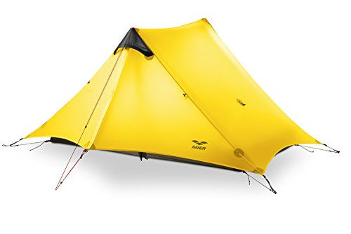 MIER Ultralight Tent 3-Season Backpacking Tent for 1-Person or 2-Person Camping, Trekking, Kayaking, Climbing, Hiking (Trekking Pole is NOT Included), Yellow, 2-Person