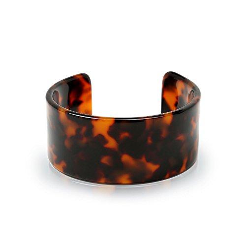 Fashion Brown Golden Acrylic Tortoise Shell Wide Cuff Bangle Bracelet for Women