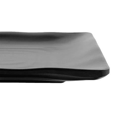"""G.E.T. Enterprises Black 14"""" x 9"""" Rectangular Platter, Break Resistant Dishwasher Safe Melamine Plastic, Nara Collection RP-1490-BK (Pack of 12)"""