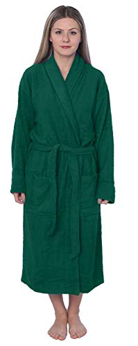 Damen Bademantel, 100 % Baumwolle, Schalkragen, Frottee, erhältlich in Übergröße -  Grün -  Large