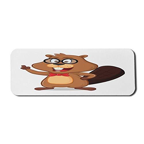 Beaver Computer Mouse Pad, Happy Pattern einer Nerdy Geek Silhouette mit Brille und Fliege, rechteckiges, rutschfestes Gummi-Mousepad, großer Ingwer und mehrfarbig