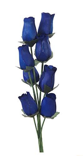 Homestreet Flowers Holzrosen in vielen Farben, 8 einzelne Rosenstiele, in einem Strauß gebunden, für Blumensträuße oder Ausstellungen in Bastelprojekten und mehr (Marineblau)