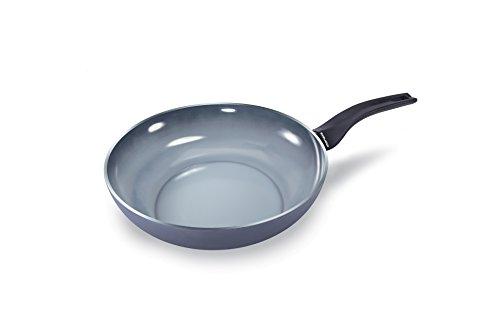 Moneta Aria Finegres Wok pour induction, revêtement naturel et ant-iadhésif, sauteuse durable convenant à tous les feux, lavable au lave-vaisselle, 28 cm
