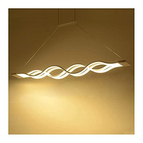 Allamp DISEÑO DE ONDA LED Araña para la cocina, 4 raíces Arte Twist Lámpara colgante, regulable con control remoto 39.4 x 4.7 pulgadas