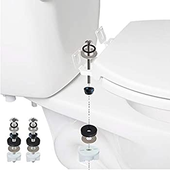 Universal Toilet Seat Hinge Bolts Toilet Tank to Bowl Bolts Kit Toilet Bolts Toilet Repair Screw Toilet Seat Screws with Downlock Nuts White Plastic Nuts Stainless and Rubber Washers
