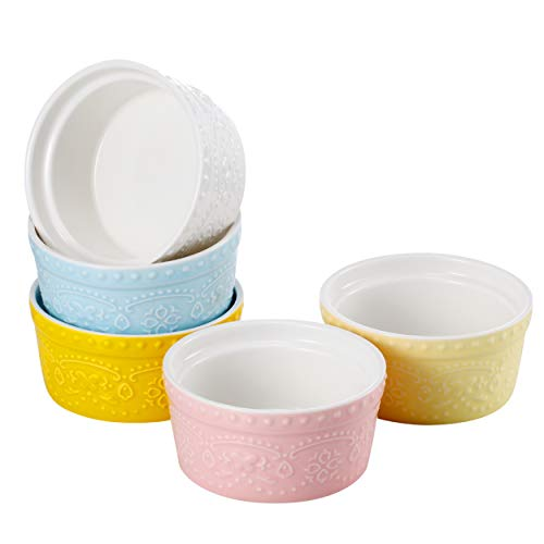 Sumerflos 6 Oz Porcelain Ramekins, Souffle Dishes - for Baking, Pudding, Creme Brulee and Ice Cream - Microwave, Oven Safe - Set of 5, Elegant Assorted Colors